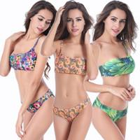 best plus size bra - Single Shoulder Swimwear Sexy Print Plus Size Bikinis for Fat Women Push Up Bra Set Best Price New Arrival M TO XL