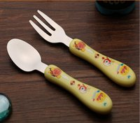 Wholesale Stainless Steel Cartoon Spoon Fork Set Portable Travel Tableware Colher Baby Kid s Spoons Hello Kitty Cooking Tools Free Ship