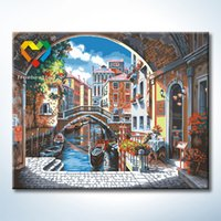 baby wall hooks - Venice City Wall Art DIY Painting Baby Toys x50cm Digital Canvas Oil Painting Drawing Wall Art for Children with Metal Hooks