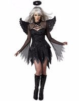 adult devil costumes - Hot Sale Black Sexy Adult Fallen Angel Devil Halloween Costume Fancy Mini Dresses For Women W548650