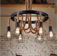 american fluorescent lighting - 2016 Luxury Retro rope Industrial pendant Lights edison Vintage Restaurant Living bar Light American Style nordic fixtures lighting