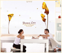 Wholesale D Gold Calla Lily Reusable Transparent Pvc Window Wall Stickers Mural Decal Art Home Decor Size145 cm in