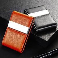 Wholesale High Quality Faux Leather Case Box Business Card Holder Stainless Steel Pocket ID Credit Card Holder Case Cover ZC0115