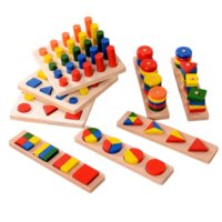 Wholesale 8Pcs Set Montessori Cylinder Educational Toy Block Wood Teaching Aids Geometry Shape Baby Learning Portfolio Combination portfolio animation