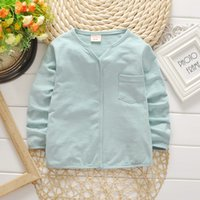 Wholesale children s cotton V neck long sleeve T shirt boy girl s T shirt