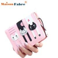 bifold wallet pattern - Brand new Wallets Purses fashion Women Mini Bifold Leather Wallet Lovely cat pattern Card Holder