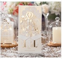 Wholesale Wishmade brand new set D gold castle design laser cut invitation cards CW5093 free envelop and free seal
