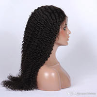 Wholesale Human Hair Wigs Kinky Curly Natural Color Malaysian Human Hair Lace Front Wigs Free Style Virgin Hair Wigs With Bleached Knots