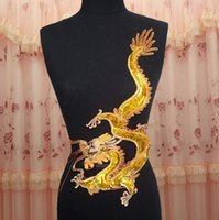 Wholesale 30 cm large golden paillette dragon embroidered on red mesh cloth for decoration or performing costume DIY raw material