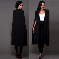 Wholesale New Spring Autumn Women Plus Size Long Cape Blazers and Jackets Sexy Black White Runway Cloak Long Sleeve Club Party Blazer