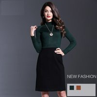 american freight shipping - Brand New European American Knitted Women Dress Winter Autumn Office Lady Basic Dress Business Suit Free Freight Cost Fast Shipping YM16610