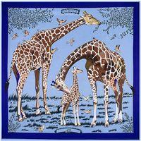 animal wrap rings - 130cm cm Silk Scarves For Women Giraffe Print Silk Square Scarf Femal Fashion Les Girafes Shawls