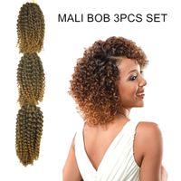 Wholesale MALI BOB SET Curly Twist Crochet Braids Braiding Hair for Black Women Premium Synthetic Fiber Natural Ombre Colors Short quot inches g