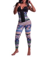 Wholesale Female Body Shaper Plus Size Shapewear Suits Geometric Print Latex Corset Tops with Control Panties Steampunk Gothic Waist Trainer