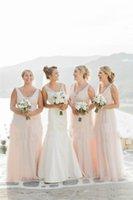 Monique Lhuillier maxi largo de tul de ensueño para los vestidos de dama de Mar de 2016 de Bohemia del vestido de boda de visitantes Desgaste formal vestidos de noche baratos