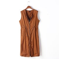 army cord colors - 3 Colors New Spring Draw Cord Waist Solid Long Style Women s Vest Feminine Zipper Pockets Gilet Tops Sleeveless Waistcoat