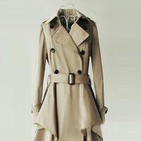 asymmetrical belted coat - 2016110118 Autumn Women Fashion Double Breasted Belt Trench Coat Solid Khaki Casual Asymmetrical Hem Long Sleeve Coat