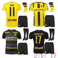 Wholesale 2016 Borussia Dortmund kit home away Jerseys Dortmund adult Coat pants socks Jerseys REUS GUNDOGAN PULISC Borussia D