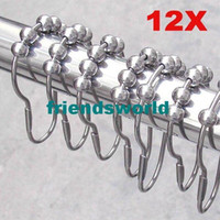 Wholesale Polished Satin Nickel Rollerball Shower Curtain Rings Curtain Hooks x4cm