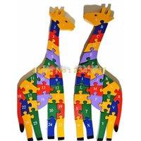 alphabet giraffe - Double Sides Number Alphabet Child Intelligence Wooden Giraffe Puzzle Animal Letter Toy