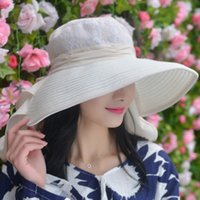 Wholesale Spring and summer influx of female models large brimmed hat t sun hat Dayan Mao beach hats for women Chiffon collapsible hat