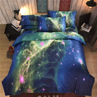 Wholesale 3D Bedding Sets Universe Outer Space Duvet cover Bed Sheet Bed Sheet Pillowcase Twin Full Queen Size Polyester Colour Stars Hipster Galaxy