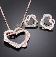 Wholesale jewelry k gold plated made with austrian crystal rhinestone heart wedding necklace set