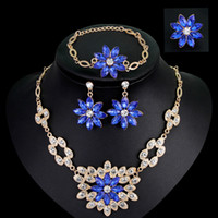 Wholesale party wedding jewelry set bride Necklace ring bracelet earrings set NO ca057