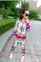 Wholesale new spring autumn women cool leisure Slim cool outerwear set tracksuits female fashion casual sports suits two piece long pants print jacket