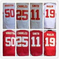 Jersey de hombres baratos, Elite 11 <b>Alex Smith</b> 19 Jeremy Maclin 25 Camiseta de Jamaal Charles, Blanco y rojo, Talla M-XXXL
