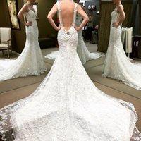Wholesale Vestido De Noiva White Vintage Lace Mermaid Backless Cheap Wedding Dresses Pearls Long Train Weddings Gown robe de marriage