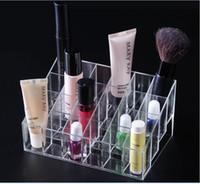 Wholesale 14 cm Clear Acrylic Cases Mascara cream Lipstick Holder Display Stand Cosmetic Organizer Makeup Case KB391
