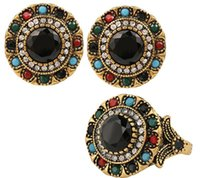 ancient emerald - Vintage Luxury emerald Black Stone Earring Ring Jewelry Set For Women India Jewelry Sets Plated Ancient Bronze Mosaic Rhinestone