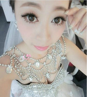 beading rings - 2016 Cheap Fashion Bridal Shoulder Chains Sparkly Rhinestones Beading Bridal Necklace Temperament Wedding Accessories In Stock