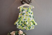 Cheap Fashion 2016 new children outfits girl lemon fruit printed backlesss vest tops +cotton shorts 2pcs sets kids princess clothing A8475