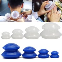 Wholesale HOT Olympic Cupping Chinese Therapy Cellulite Massage Silicone Cups Medical Vacuum Set Cupping Machine Blue and White Color
