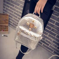 Wholesale New fashion mini backpack leisure PU satchel crocodile grain college bag rivet backpack LY055