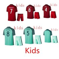 Wholesale 16 Portugal Kids Jerseys child teens Shirt RONALDO NANI F COEMTRAO J MOUTINHO Wholesalers Jersey Away Home