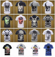 Wholesale New Men Diamond Hiphop T Shirts Mens d t shirts Cotton Fashion Tees Brand PHILIPP PLEIN T Shirt Men Lapel Cotton skull fashion T Shirt pp1