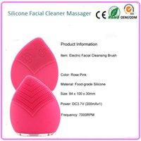 Wholesale 100pcs DHL Waterproof Face Beauty Care Skin Rejuvenation Sonic Vibration Deep Cleaning Facial Brush Massager Cleanser