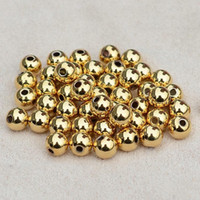 Wholesale DIY beads K real rose Gold plated beads for necklace pendant bracelet copper Smooth solid Ball Spacer Beads