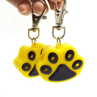 Wholesale New Arrival Cute Paw Printed Pets Glowing Tag LED Flash Dog Cat Pendant with Metal Key Chain Colors