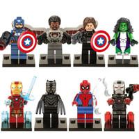 america toys - Captain America Civil War Marvel Super heroes Minifigures Hulk Black Panther War Machine Mini Figures building blocks toys bricks X0114