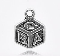 abc dice - Antique Silver quot ABC quot Dice Charm Pendants x10mm sold per pack of Mr Jewelry