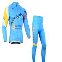 air astana - Air Astana Winter Cycling Clothing Long Sleeve Thermal Fleece Cycling Jersey Men Outdoor Bike Sport Winter Cycling Wear Bib Pants