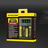 Wholesale 100 Original Nitecore New I4 Digicharger LCD Display Battery Charger Universal Nitecore i4 Charger VS Nitecore i2 D2 D4 UM10 UM20 free ship