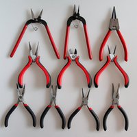 Wholesale 10pcs Black Metal Mini Jewellery Jewelry Stainless Pliers Cutter Chain Round Bent Nose Beading Making Repair Tool Kit DIY Handmade Tools