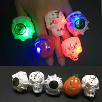Wholesale 2016 flashing Eye Ring Halloween LED Flashing ring Kids Toys Novelty Design Party skull rings Christmas Gift