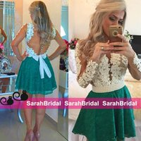 apple t shirts for sale - 2016 Green Lace Short Skirt Cocktail Evening Dresses with Ivory Top Long Sleeves Beaded Pearls Bridal Party Gowns for Special Occasion Sale