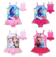 Wholesale 2016 Finding Dory Kids Girls Swimsuits Designs Frozen Elsa Dory Nemo Girls Tutu Dress Swimwear Lace Bikini Children Summer Bathing Swimwear